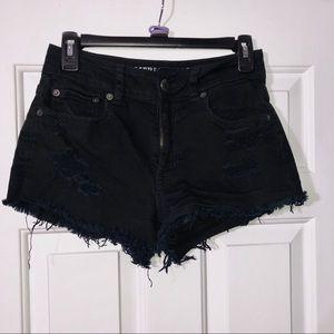 High Rise Distressed Black Shorts